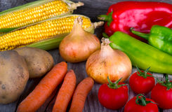 Organic vegetable on wood table Stock Image