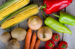 Organic vegetable on wood table Royalty Free Stock Image