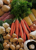 Organic vegetables. Rustic organic vegetables from farmers market Stock Photos