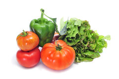 Organic vegetables. Some organic vegetables on a white background royalty free stock photography