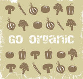 Organic Vegetables. Brown Wallpaper With Organic Vegetables Royalty Free Stock Photos