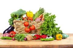 Organic vegetables in basket Stock Photos
