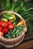 Organic vegetables in big basket. top view Stock Photo