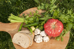 Organic vegetables and bread slices Stock Photography
