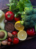 Organic vegetables,fruit, herbs,nuts,seeds in wooden box for healthy lifestyle Stock Images