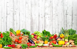 Organic vegetables and fruits. Variety on the table in kitchen Royalty Free Stock Photography