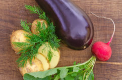 Organic vegetables with green-stuff Stock Photography