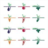 Organic vegetables logos and labels stock illustration