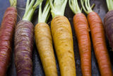 Organic Vegetables. Organic rainbow carrots from the local farm Royalty Free Stock Photography