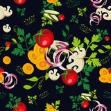 Organic vegetables seamless pattern background Stock Photo