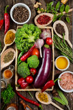 Organic vegetables and spices Royalty Free Stock Photo