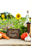 Organic vegetables on a table with german text Royalty Free Stock Images