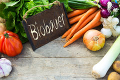 Organic vegetables on a table with german text Stock Image