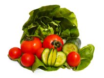 Organic vegetables on white background. royalty free stock photography