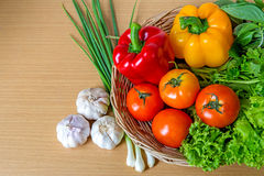 Organic vegetables in the wicker basket Stock Photography