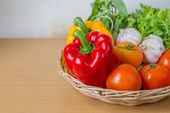 Organic vegetables in the wicker basket Stock Image