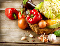 Organic Vegetables on a Wood Background Royalty Free Stock Photo