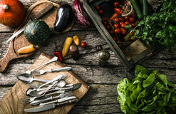 Organic vegetables on wood Stock Photography