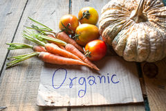 Organic vegetables on wooden background Royalty Free Stock Photography