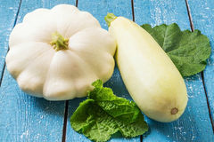 Organic vegetables: zucchini and patty pan squash Royalty Free Stock Images