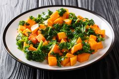 Free Organic Vegetarian Salad Of Roasted Sweet Potato With Kale Cabbage Close-up On A Wooden Table. Horizontal Stock Image - 142522471