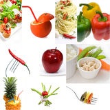 Organic Vegetarian Vegan food collage  bright mood Royalty Free Stock Images