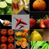 Organic Vegetarian Vegan food collage  dark Royalty Free Stock Photos