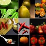 Organic Vegetarian Vegan food collage  dark Stock Photography