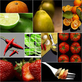 Organic Vegetarian Vegan food collage  dark Stock Photos