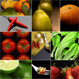 Organic Vegetarian Vegan food collage  dark Stock Images