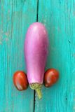Organic violet aubergine and two red and black tomatoes like a p Royalty Free Stock Photography