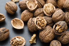 Organic Walnuts. Fresh organic walnuts close up royalty free stock photos