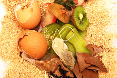 Organic waste for compost. House organic waste ready for compost Royalty Free Stock Images