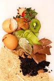 Organic waste for compost on white. House organic waste ready for compost Stock Photo
