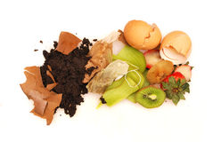 Organic waste white background. House organic waste ready for compost Stock Image