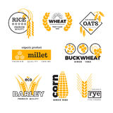 Organic wheat grain farming agriculture vector logo set Stock Images