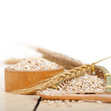 Organic wheat grains. Over rustic wood table macro closeup Stock Image
