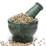 Organic White Pepper & x28;Piper nigrum& x29; on marble pestle. Royalty Free Stock Photography