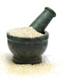 Organic White Sesame & x28;Sesamum indicum& x29; on marble pestle. Royalty Free Stock Images