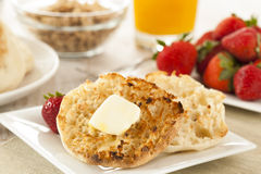 Organic Whole Wheat English Muffins Royalty Free Stock Images
