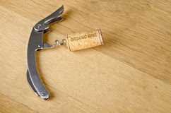 Organic Wine Cork on a Corkscrew Stock Photography