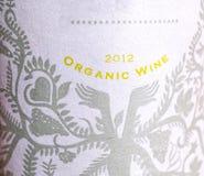 Organic wine labe on bottle Royalty Free Stock Photos