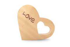 Organic Wooden Baby Teether as Heart Stock Photo