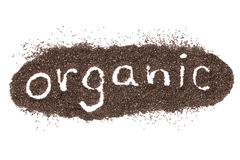 Organic word made from chia seeds isolated on white Stock Image