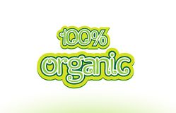 100% organic word text logo icon typography design Stock Image