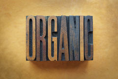 Organic. The word ORGANIC written in vintage letterpress type royalty free stock photography