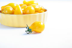 Organic yellow pear tomatoes Royalty Free Stock Image