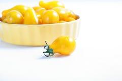 Organic yellow pear tomatoes Royalty Free Stock Image