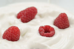Organic yogurt with fresh raspberries closeup. Food background Royalty Free Stock Photos
