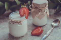 Organic yougurt in jar with strawberry. Fresh strawberry with yo Stock Images